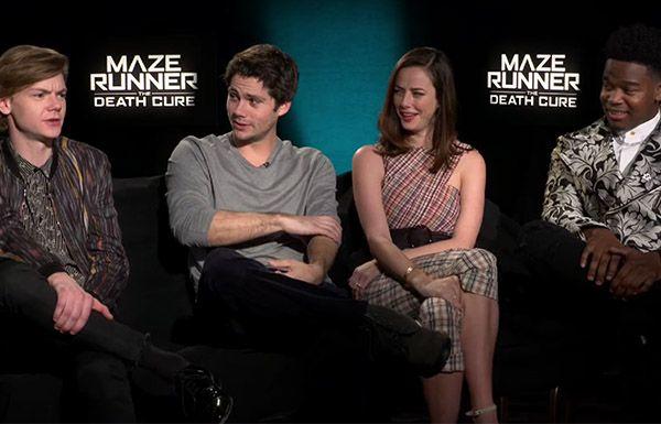 Thomas Brodie-Sangster, Dylan O'Brien, Kaya Scodelario, Dexter Darden from Maze Runner: The Death Cure
