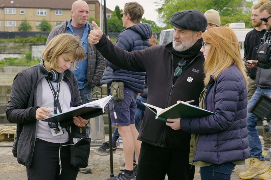 Director Sam Mendes and co-writer Krysty Wilson-Cairns on the set of '1917'