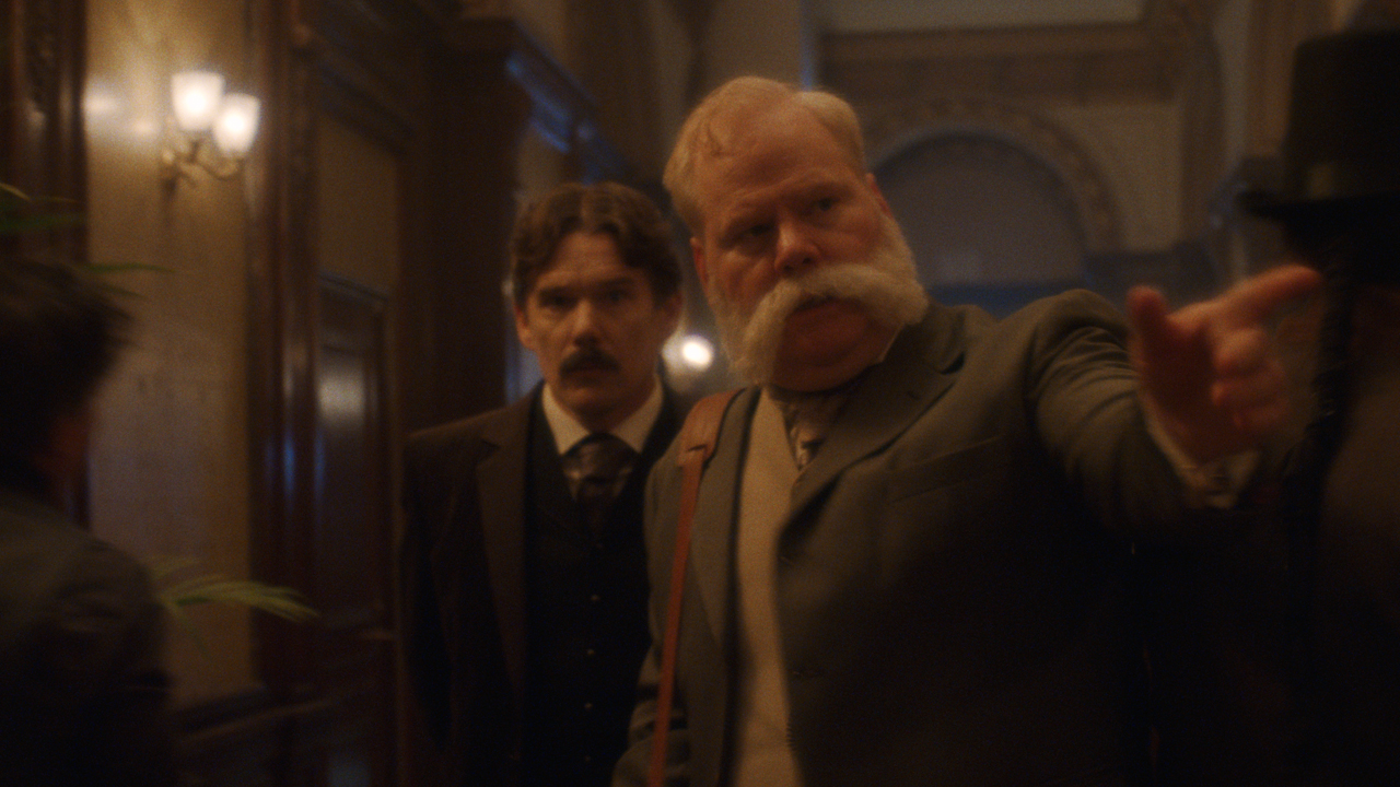ethan hawke as nikola tesla and jim gaffigan as george westinghouse