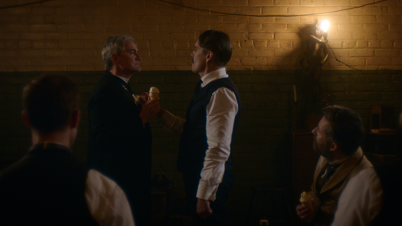 kyle maclachlan as thomas edison and ethan hawke as nikola tesla