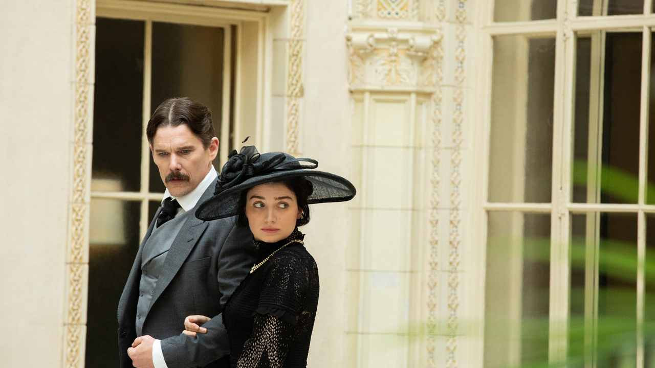 ethan hawke as nikola tesla and eve hewson as anne morgan