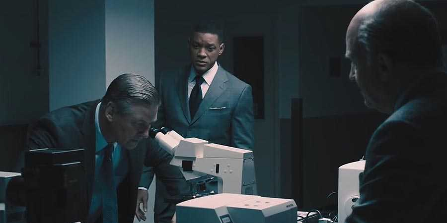Alec Baldwin (left) and Will Smith (center) in 'Concussion'