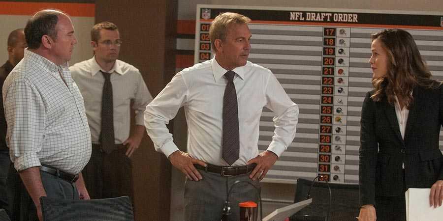 Kevin Costner (center) and Jennifer Garner (right) in 'Draft Day'