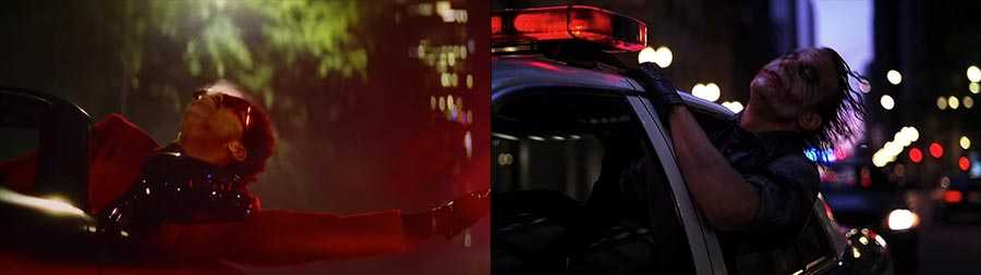 """""""Blinding Lights"""" (left) and 'The Dark Knight' (right)"""