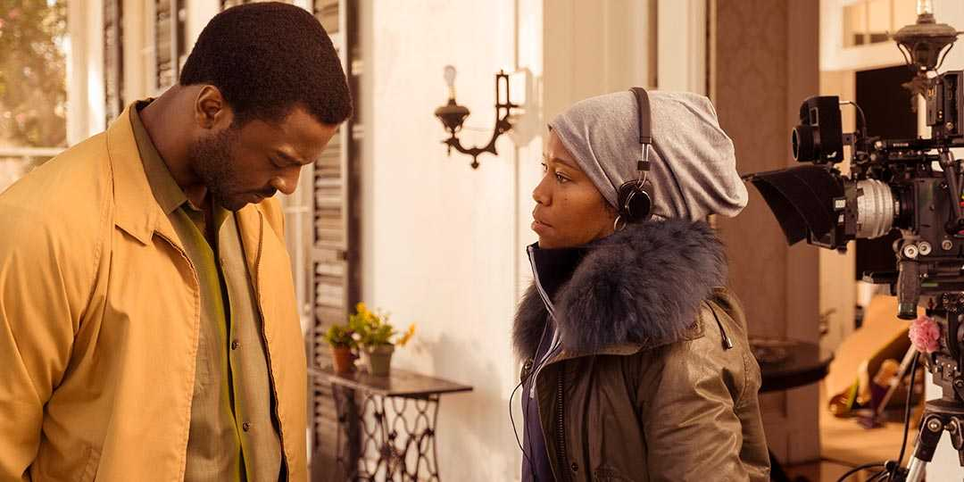 Aldis Hodge and director Regina King on the set of 'One Night in Miami...'