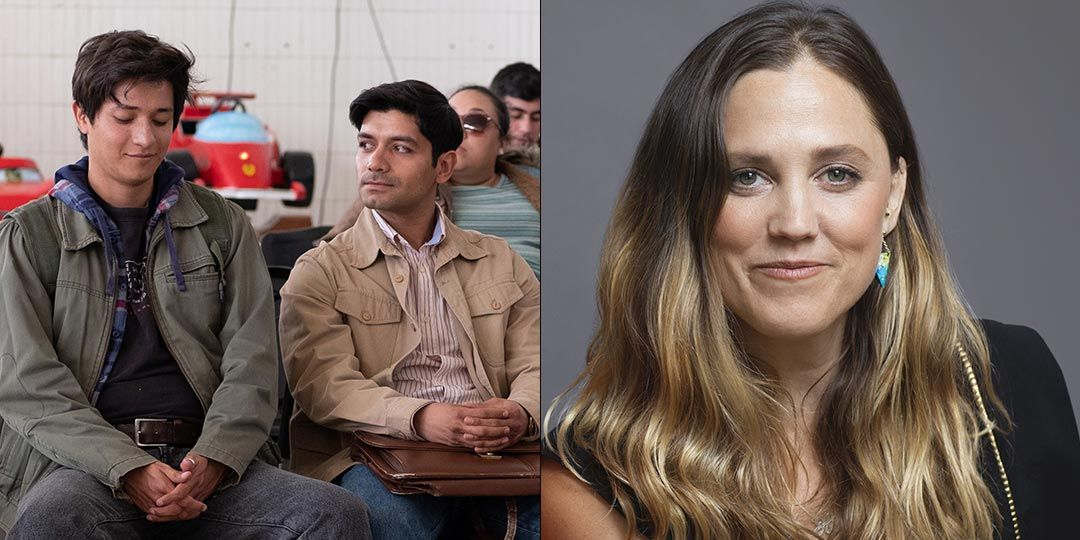 Left: Christian Vázquez & Armando Espitia in 'I Carry You With Me.'  Right: Director Heidi Ewing  (Courtesy of Sony Pictures Classics)