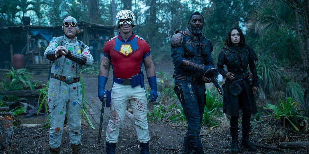 David Dastmalchian, John Cena, Idris Elba, and Daniela Melchior in 'The Suicide Squad'