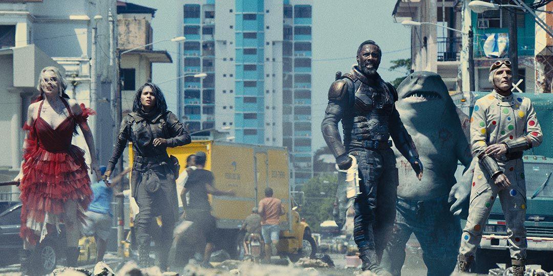 (L to R) Margot Robbie, Daniela Melchior, Idris Elba, Sylvester Stallone, and David Dastmalchian in 'The Suicide Squad'