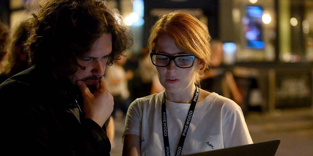 Writer/Director Edgar Wright and Writer Krysty Wilson-Cairns on the set of their film 'Last Night in Soho'