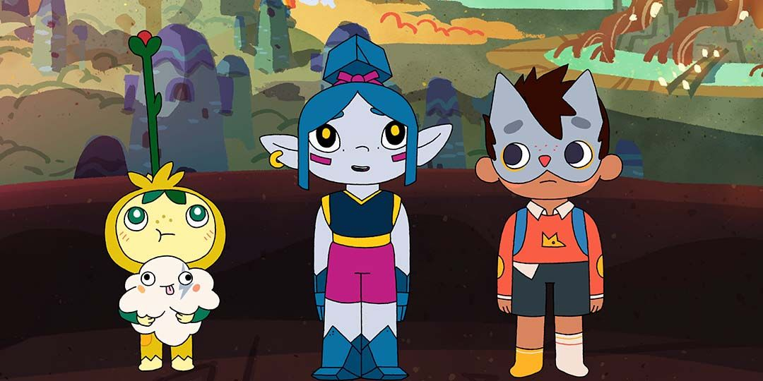 Sprout (voiced by Archie Yates), Floof (voiced by Christina Militia), Xandra (voiced by Lily Williams) and Wolfboy (voiced by Kassian Akhtar) in 'Wolfboy and the Everything Factory'